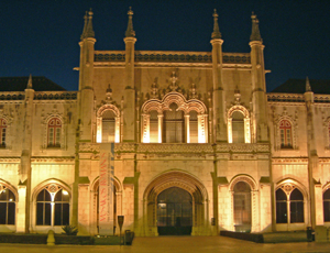 Facade at night